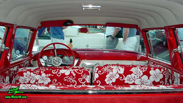 Photo of a red & white 1958 Edsel Roundup 2 Door Station Wagon at the Scottsdale Pavilions Classic Car Show in Arizona. 1958 Edsel Roundup Station Wagon Interior & Dashboard
