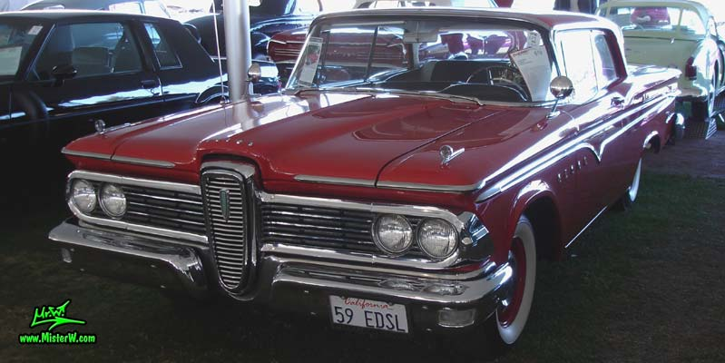 Photo of a red 1959 Edsel Ranger 2 Door Hardtop Coupe at a classic car auction in Scottsdale, Arizona. Red 59 Edsel Ranger Hardtop Coupe