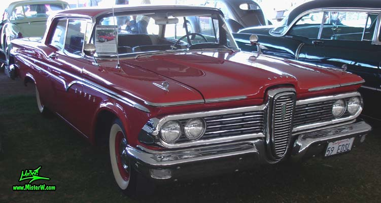 Photo of a red 1959 Edsel Ranger 2 Door Hardtop Coupe at a classic car auction in Scottsdale, Arizona. 59 Edsel Ranger 2 Door