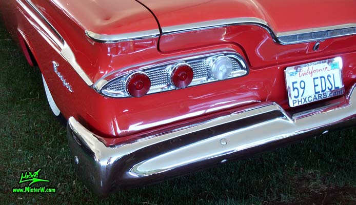 Photo of a red 1959 Edsel Ranger 2 Door Hardtop Coupe at a classic car auction in Scottsdale, Arizona. 1959 Edsel Ranger Coupe Tail Lights