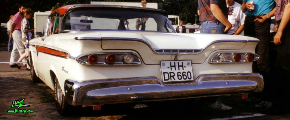 Photo of a white & red 1959 Edsel Ranger 2 Door Hardtop Coupe at a Classic Car Meeting in Germany. 1959 Edsel Ranger Tail Lights