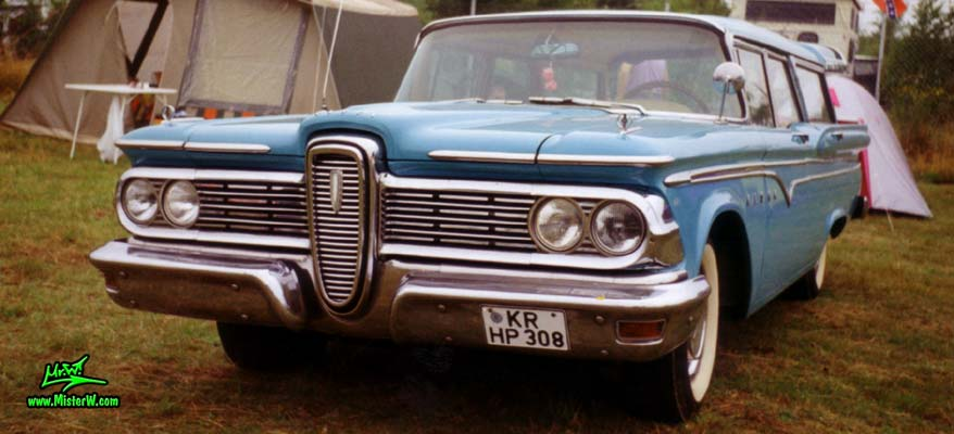 Photo of a turquoise 1959 Edsel Villager 4 Door Station Wagon at a Classic Car Meeting in Germany. 59 Edsel Wagon