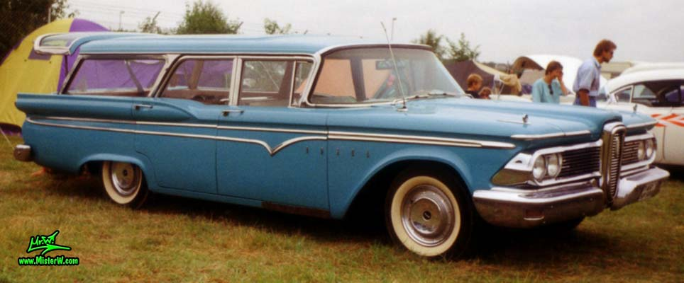 Photo of a turquoise 1959 Edsel Villager 4 Door Station Wagon at a Classic Car Meeting in Germany. 1959 Edsel Villager Station Wagon Sideview