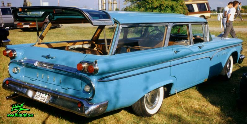 Photo of a turquoise 1959 Edsel Villager 4 Door Station Wagon at a Classic Car Meeting in Germany. 1959 Edsel Villager Station Wagon Rearview