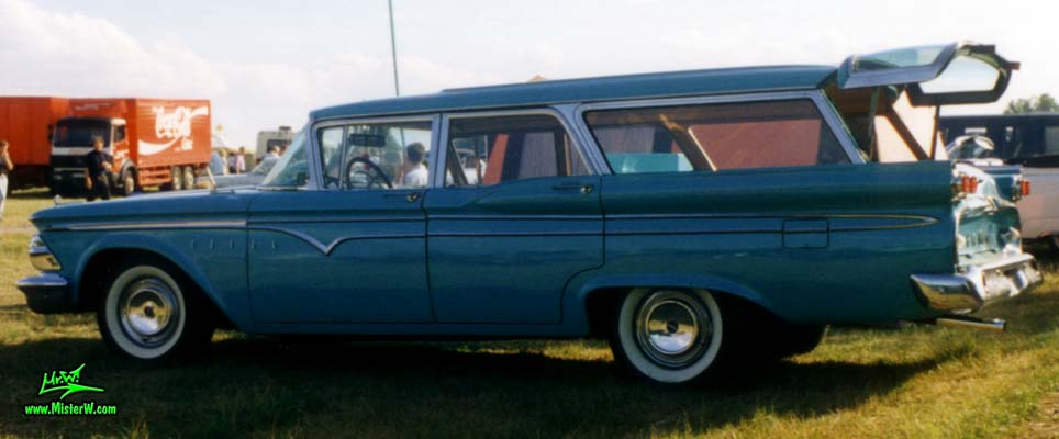 Photo of a turquoise 1959 Edsel Villager 4 Door Station Wagon at a Classic Car Meeting in Germany. 59 Edsel Stationwagon