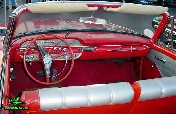 Photo of a red 1960 Edsel Ranger Convertible at the Scottsdale Pavilions Classic Car Show in Arizona. 60 Edsel Ranger Convertible Dash Board