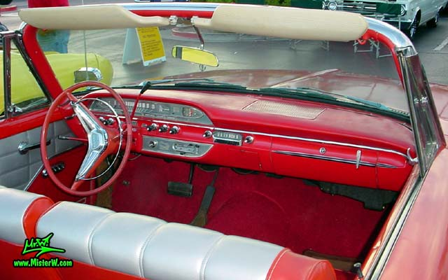 Photo of a red 1960 Edsel Ranger Convertible at the Scottsdale Pavilions Classic Car Show in Arizona. 1960 Edsel Ranger Convertible Odometer & Dashboard