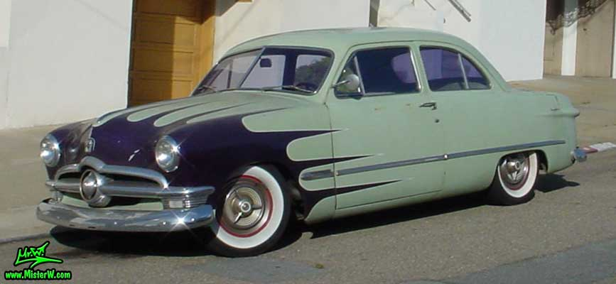 Photo of a jade green 1950 Ford 2 Door Hardtop Coupe in San Francisco. 1950 Ford Coupe