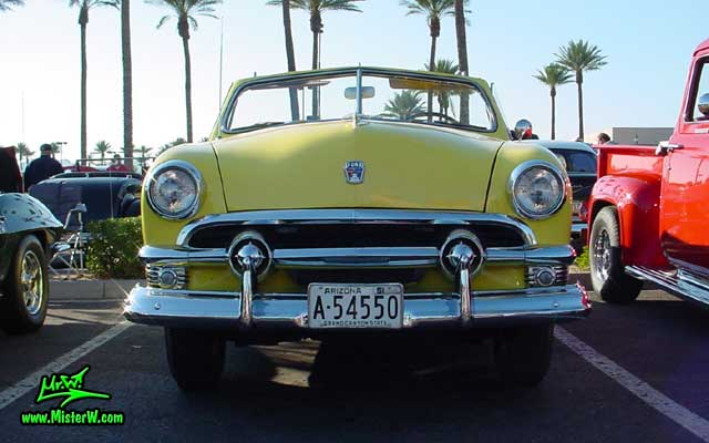Photo of a yellow 1951 Ford Convertible at the Scottsdale Pavilions Classic Car Show in Arizona 1951 Ford Convertible
