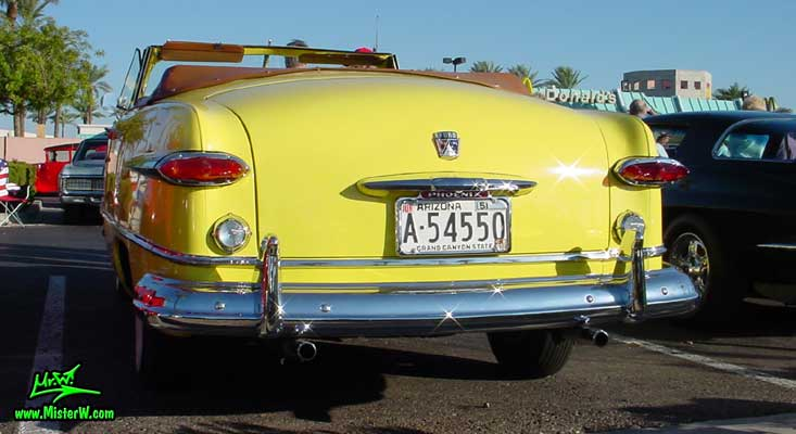 Photo of a yellow 1951 Ford Convertible at the Scottsdale Pavilions Classic Car Show in Arizona 1951 Ford tail lights