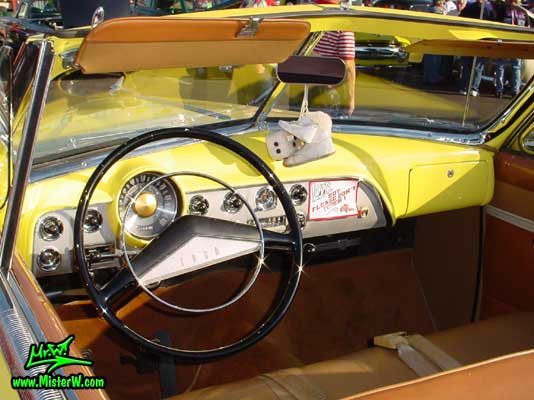 Photo of a yellow 1951 Ford Convertible at the Scottsdale Pavilions Classic Car Show in Arizona 1951 Ford Convertible Odometer & Dash Board