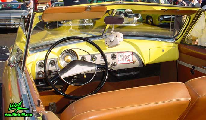 Photo of a yellow 1951 Ford Convertible at the Scottsdale Pavilions Classic Car Show in Arizona 1951 Ford Convertible Dashboard