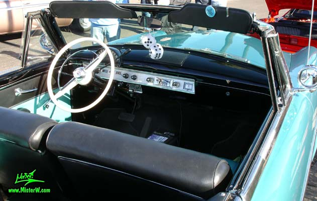 Photo of a blue metallic 1954 Ford Crestline Convertible at the Scottsdale Pavilions Classic Car Show in Arizona. 54 Ford Convertible Interior & Dash