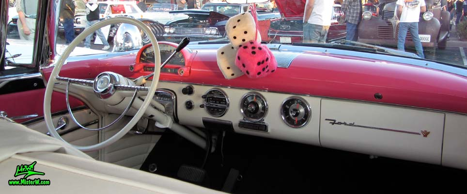 Photo of a pink & white 1955 Ford Crown Victoria 2 Door Hardtop Coupe at the Scottsdale Pavilions Classic Car Show in Arizona. 55 Ford Crown Victoria Coupe Steering Column & Dash