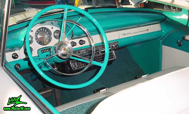 Photo of a white & turquoise 1956 Ford Fairlane 2 Door Hardtop Coupe at the Scottsdale Pavilions Classic Car Show in Arizona. 56 Ford Dashboard, Odometer & Interior
