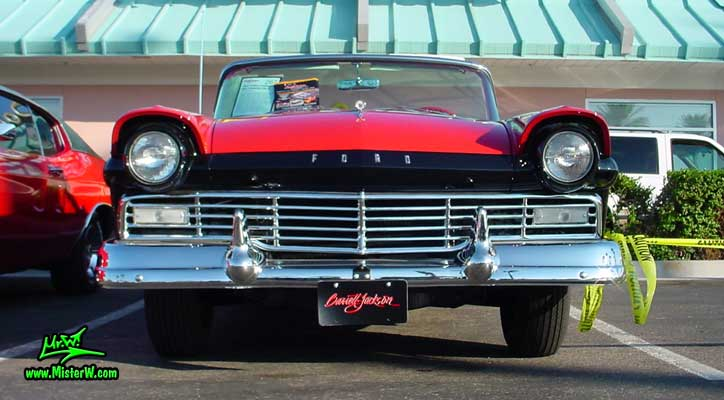 Photo of a red & black 1957 Ford Convertible at the Scottsdale Pavilions Classic Car Show in Arizona. 1957 Ford Front Grill