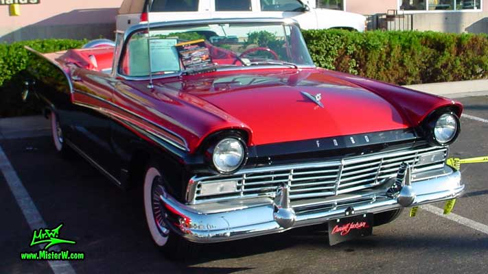 Photo of a red & black 1957 Ford Convertible at the Scottsdale Pavilions Classic Car Show in Arizona. 1957 Ford