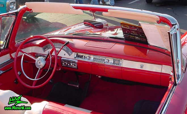 Photo of a red & black 1957 Ford Convertible at the Scottsdale Pavilions Classic Car Show in Arizona. 1957 Ford Interior & Dashboard