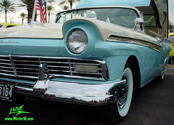 Photo of a white & blue 1957 Ford Fairlane Retractable Hardtop / Convertible at the Scottsdale Pavilions Classic Car Show in Arizona. 1957 Ford with Retractable Hardtop