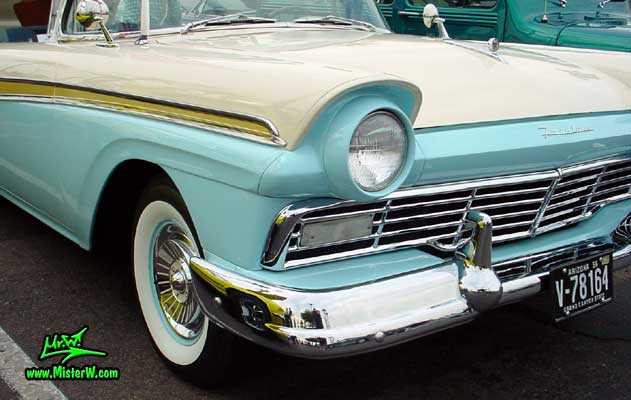 Photo of a white & blue 1957 Ford Fairlane Retractable Hardtop / Convertible at the Scottsdale Pavilions Classic Car Show in Arizona. 1957 Ford Chrome