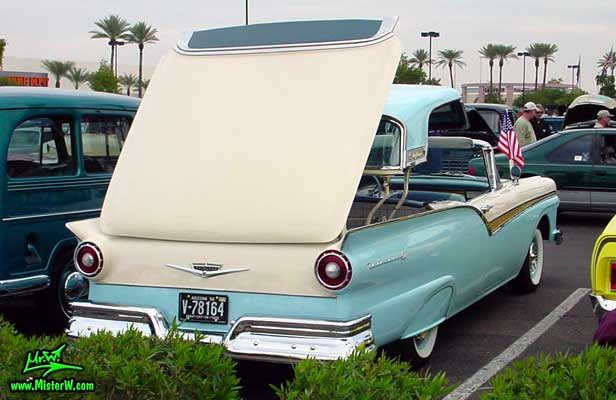 Photo of a white & blue 1957 Ford Fairlane Retractable Hardtop / Convertible at the Scottsdale Pavilions Classic Car Show in Arizona. 1957 Ford Retractable Top