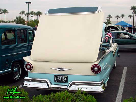 Photo of a white & blue 1957 Ford Fairlane Retractable Hardtop / Convertible at the Scottsdale Pavilions Classic Car Show in Arizona. Ford Retractable