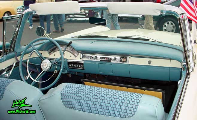 Photo of a white & blue 1957 Ford Fairlane Retractable Hardtop / Convertible at the Scottsdale Pavilions Classic Car Show in Arizona. Interior & Dash Board of a 1957 Ford Fairlane