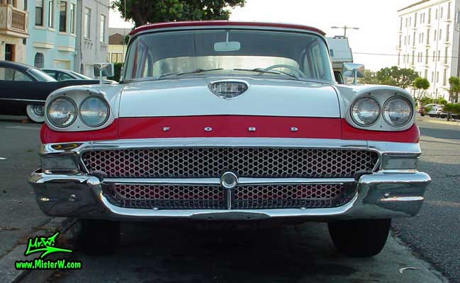 Photo of a white & red 1958 Ford 2 Door Hardtop Coupe in San Francisco. 1958 Ford Chrome Grill