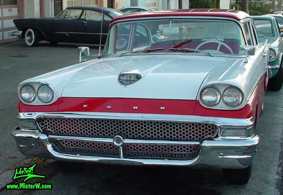 Photo of a white & red 1958 Ford 2 Door Hardtop Coupe in San Francisco. Frontview of a 1958 Ford Coupe