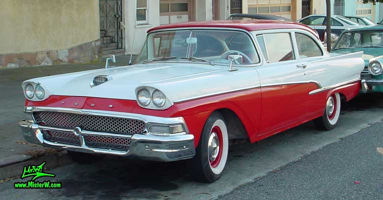Photo of a white & red 1958 Ford 2 Door Hardtop Coupe in San Francisco. 1958 Ford