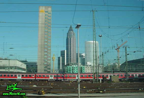 Photo of the MesseTurm in downtown Frankfurt, taken from a ICE train Messeturm in Downtown Frankfurt am Main