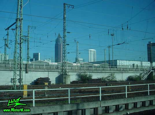Photo of trainline in front of the MesseTurm in downtown Frankfurt, taken from a ICE train Train Line in Frankfurt am Main