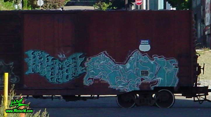 Graffiti Painting Photo of a Freight Train with Graffiti