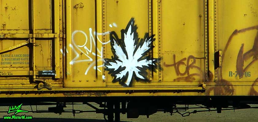 Canabis Leaf Freight Train Graffiti