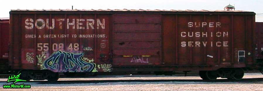 Graffiti Painting Photo of a Freight Train with Graffiti