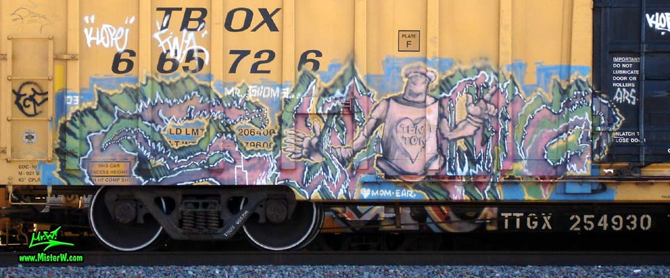 TEN TON Photo of a Freight Train with Ten Ton Graffiti