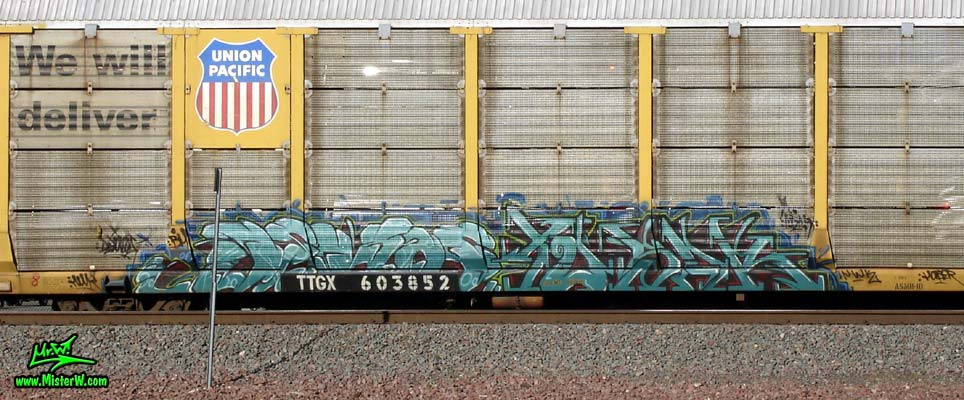 NWK Photo of a Graffiti Painted Tri-Level Car Transporter Freight Train