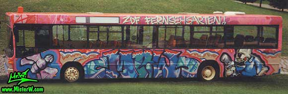 Graffiti City Bus in Mainz, Germany, July 1991