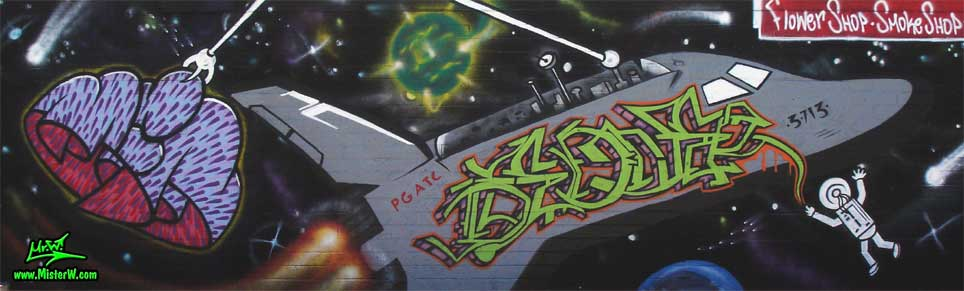 Space Graffiti Painting in Phoenix, Arizona, April 2008