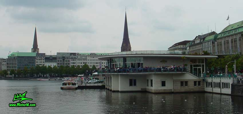 Photo of the Alsterpavillion on the inner Alster lake (Binnen Alster) in Hamburg taken, summer 2003 Alsterpavillion in Hamburg, Germany