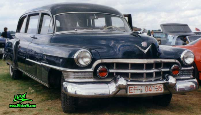 Photo of a black 1951 Cadillac Hearse at a classic car meeting in Germany. 51 Caddy Hearse Frontview
