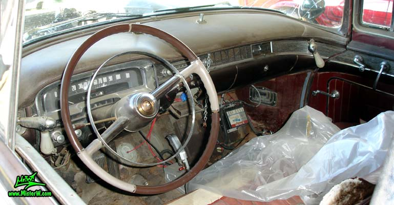 Photo of a black 1954 Cadillac Superior Funeral Coach at a classic car auction in Scottsdale, Arizona. 1954 Cadillac Superior Interior & Dashboard