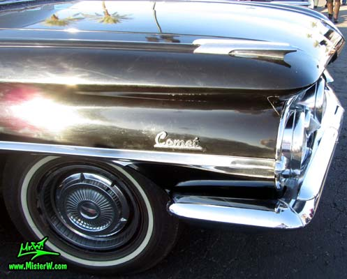 Photo of a black 1959 Oldsmobile Comet Hearse at the Scottsdale Pavilions Classic Car Show in Arizona. 59 Oldsmobile Comet Hearse Chrome Ornament