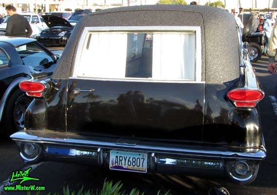 Photo of a black 1959 Oldsmobile Comet Hearse at the Scottsdale Pavilions Classic Car Show in Arizona. 59 Oldsmobile Comet Hearse Tail Lights