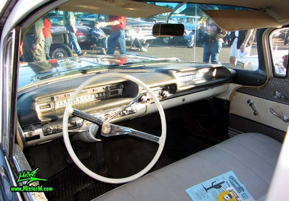Photo of a black 1959 Oldsmobile Comet Hearse at the Scottsdale Pavilions Classic Car Show in Arizona. 59 Oldsmobile Comet Hearse Interior & Dashboard