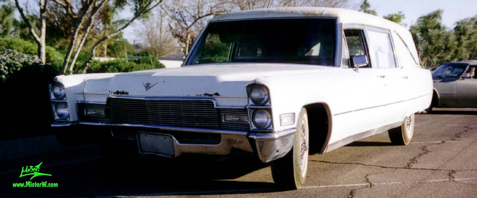 Photo of a white 1968 Cadillac Hearse in Arizona. 68 Caddy Hearse