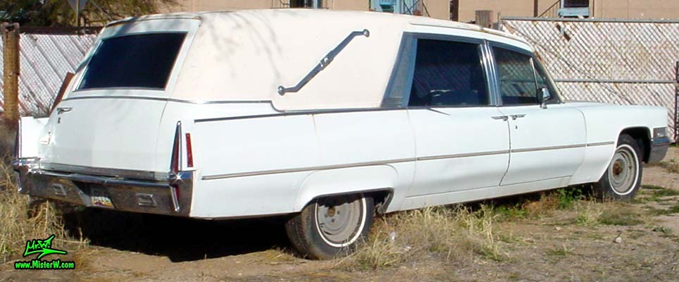 Photo of a white 1970 Cadillac Hearse in Tucson, Arizona. 70 Caddy Superior