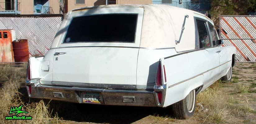Photo of a white 1970 Cadillac Hearse in Tucson, Arizona. 70 Caddy Wagon with Suicide Doors