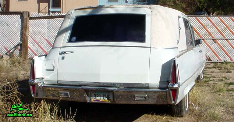 Photo of a white 1970 Cadillac Hearse in Tucson, Arizona. 1970 Cadillac Hearse Rearview