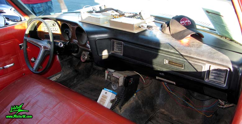 Photo of a red & white Pontiac Bonneville Superior Coach Ambulance at the Scottsdale Pavilions Classic Car Show in Arizona. 72 Pontiac Pontiac Ambulance Interior & Dash Board